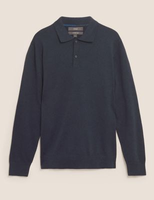 Cotton Long Sleeve Knitted Polo
