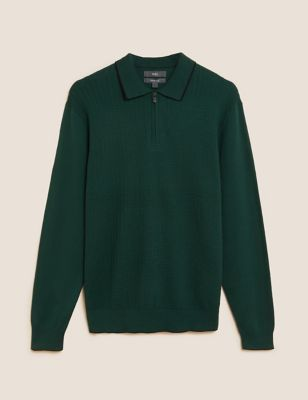 Cotton Textured Zip Neck Knitted Polo Shirt