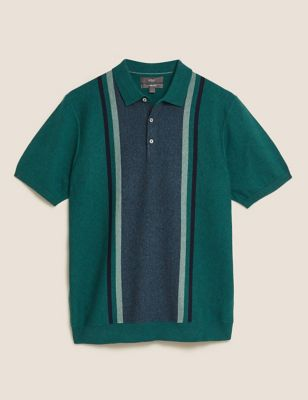 Cotton Colour Block Knitted Polo Shirt