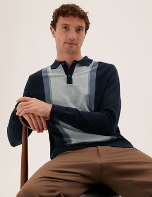 Cotton Block Stripe Knitted Polo Shirt