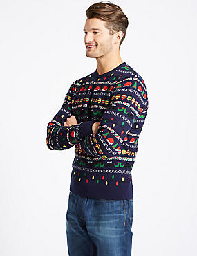 Elf and Flashing Lights Crew Neck Jumper , NAVY MIX, catlanding