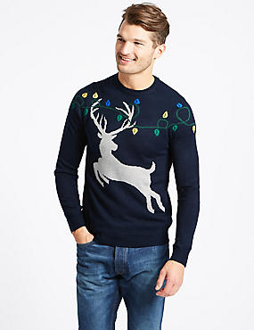 Stag Crew Neck Jumper, NAVY MIX, catlanding