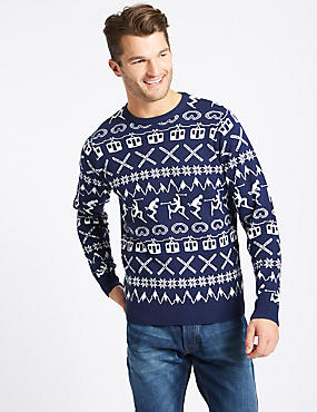 Novelty Crew Neck Jumper, BLUE, catlanding
