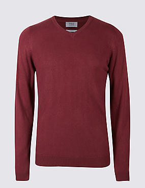 V-Neck Jumper, RASPBERRY, catlanding