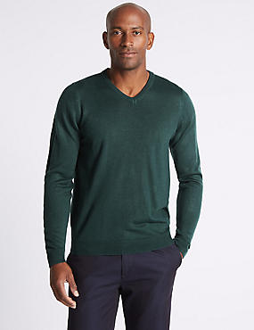V-Neck Jumper, BOTTLE GREEN, catlanding