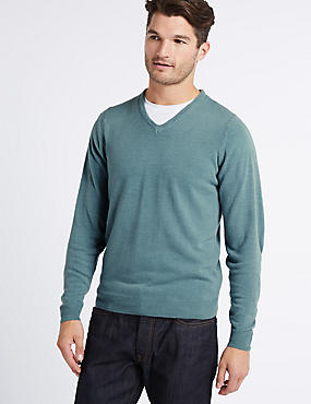 V-Neck Jumper, PEACOCK, catlanding