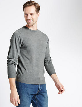 Crew Neck Jumper, GREY MIX, catlanding