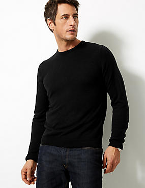 Crew Neck Jumper, BLACK, catlanding