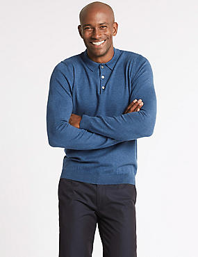 Cotton Rich Textured Polo Shirt, DENIM, catlanding