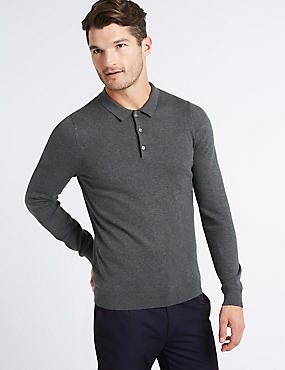 Cotton Rich Textured Polo Shirt, LIGHT GREY, catlanding