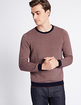Pure Cotton Textured Slim Fit Jumper, RED MIX, catlanding