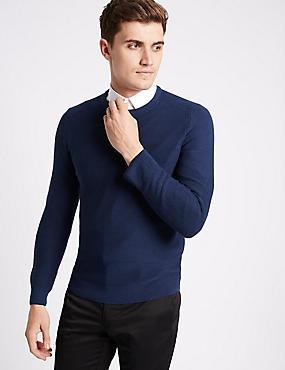 Cotton Blend Textured Slim Fit Jumpers, INDIGO, catlanding