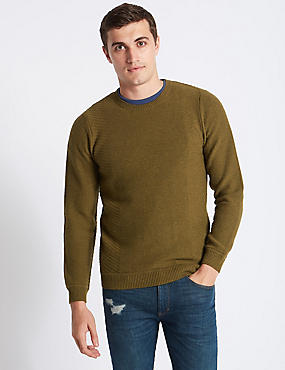 Wool Blend Textured Crew Neck Jumper, DARK OLIVE, catlanding