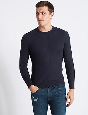 Cotton Blend Textured Slim Fit Jumper, NAVY MIX, catlanding