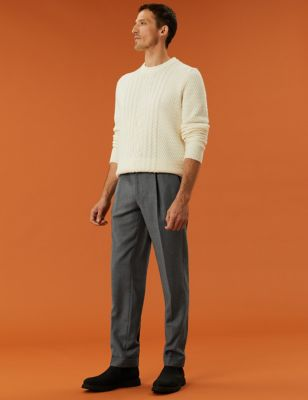 British Wool Single Pleat Trousers
