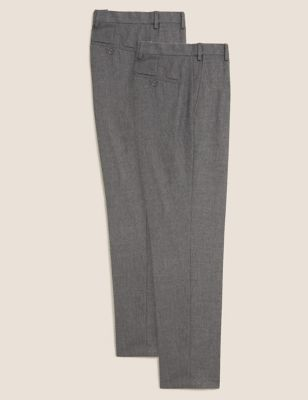 2 Pack Regular Fit Flat Front Trousers