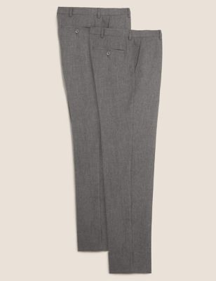 2 Pack Slim Fit Flat Front Trousers