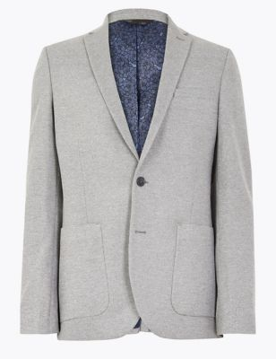 Big & Tall Grey Slim Fit Textured Jacket with Stretch