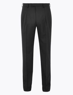 Regular Fit Wool Blend Twin Pleat Trousers