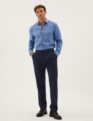 Regular Fit Wool Blend Single Pleat Trousers
