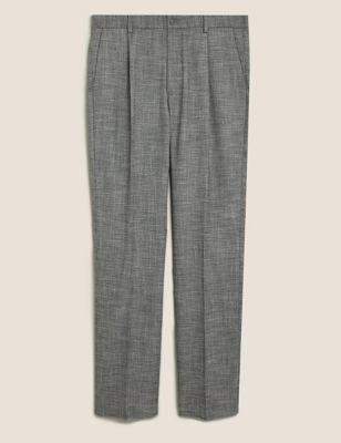 Regular Fit Single Pleat Stretch Trousers