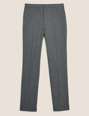 Slim Fit Textured Elasticated Trousers