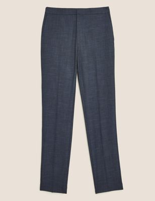 Slim Fit Flat Front Elasticated Trousers