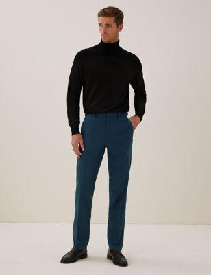 Regular Fit Italian Linen Blend Stretch Trousers