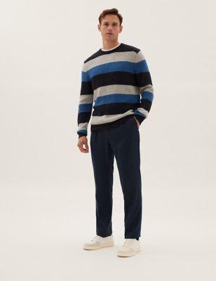 Regular Fit Wool Pinstripe 360 Flex Trousers