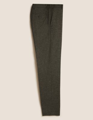 Tailored Fit Italian Wool Stretch Trousers