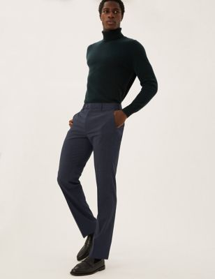 Regular Fit Wool Check Trousers