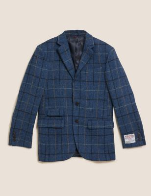 Regular Fit Pure Wool Check Tweed Blazer