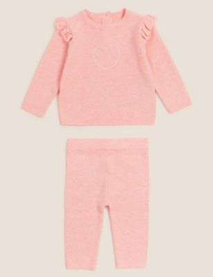 2pc Pure Cotton Heart Oufit (7lbs - 12 Mths)