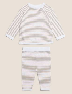 2pc Organic Cotton Striped Knitted Outfit (7lbs- 12 Mths)