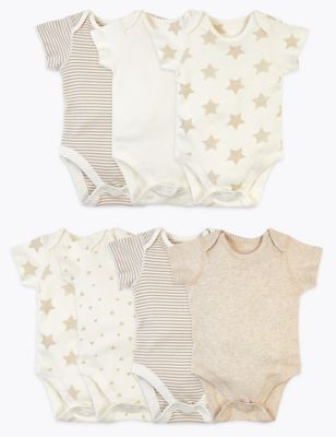 7 Pack Organic Cotton Patterned Bodysuits (5lbs-3 Yrs)