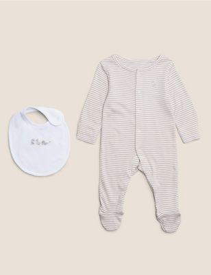 2pc Organic Cotton Stripe Sleepsuit & Bib (7lbs- 12 Mths)