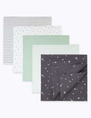 5 Pack Cotton Muslin Squares