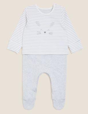 Cotton Bunny Sleepsuit (7lbs - 12 Mths)