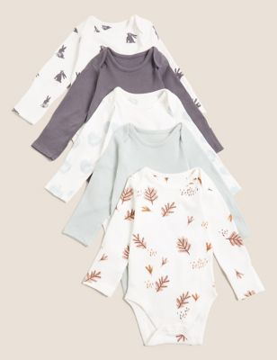 5pk Pure Cotton Print Bodysuits (7lbs-12 Mths)
