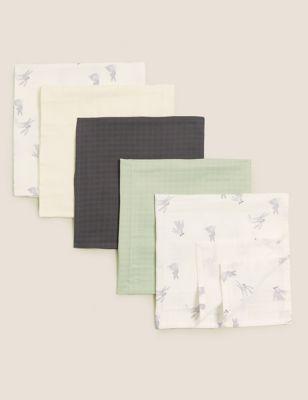 5pk Pure Cotton Muslin Squares
