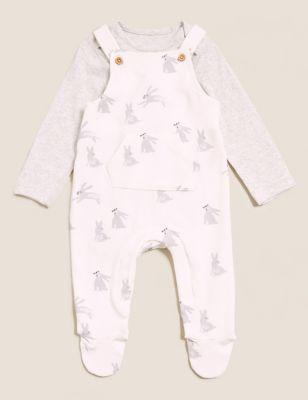 2pc Cotton Rabbit Print Outfit (0-3 Yrs)