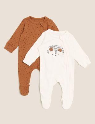 2pk Pure Cotton Animal Sleepsuits (0-3 Yrs)