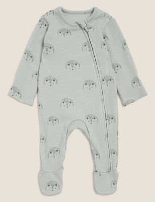 Cotton Fleece Hedgehog Print Sleepsuit (0-3 Yrs)