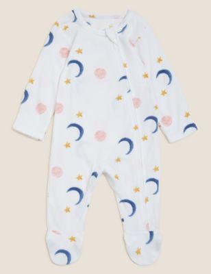 Fleece Star Print Sleepsuit (0-3 Yrs)
