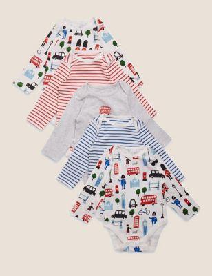 5 Pack Cotton London Bodysuits (0-3 Yrs)