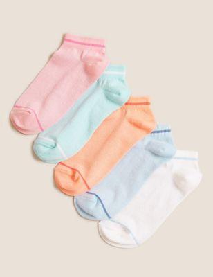 5pk Cotton Sparkle Trainer Liner Socks