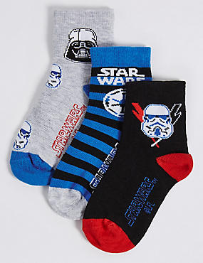 3 Pairs of Cotton Rich Star Wars™ Socks (1-3 Years), BLUE MIX, catlanding