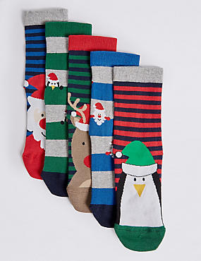 5 Pairs of Cotton Rich Novelty Socks (12 Months - 14 Years), GREEN MIX, catlanding