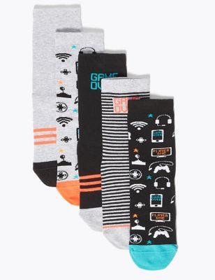 5 Pack Cotton Rich Gamer Socks