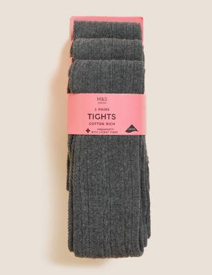 3pk of Cable Knit Tights (4-14 Yrs)